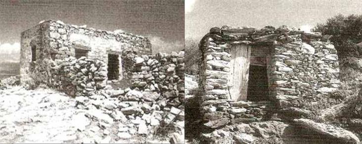 Αιγαιοπελαγίτικου τύπου κατοικίες,δωματοσκέπαστες και ισόγειες – πλατυμέτωπο μακρινάρι στη Μεσαριά Σχοινούσας και στενομέτωπο μακρινάρι στην Κύθνο,αντίστοιχα – στην πιο απλή τους μορφή (πηγή: Κων . Σπ. Παπαϊωάννου, «Το Ελληνικό παραδοσιακό σπίτι», Πανεπιστημιακές Εκδόσεις Ε.Μ.Π., Αθήν α 2003).